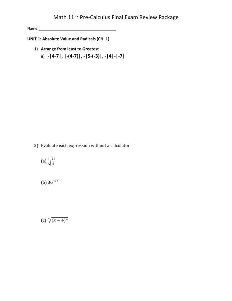Math 11 ~ Pre-Calculus Final Exam Review Package
