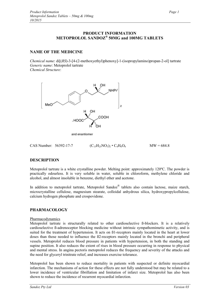 PRODUCT INFORMATION METOPROLOL
