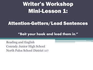 Writer's Workshop Mini-Lesson 1: Attention