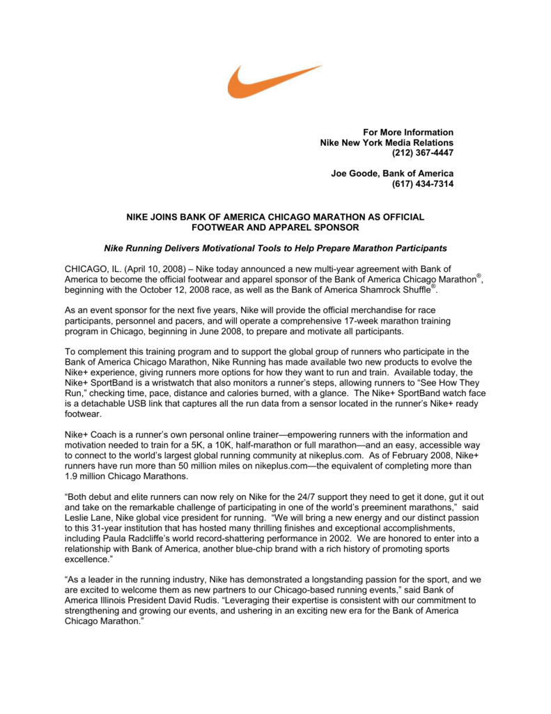 wholesale dealer 7769b 8d9db For More Information Nike New York Media Relations (212) 367