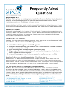 FAQs - Placer SPCA