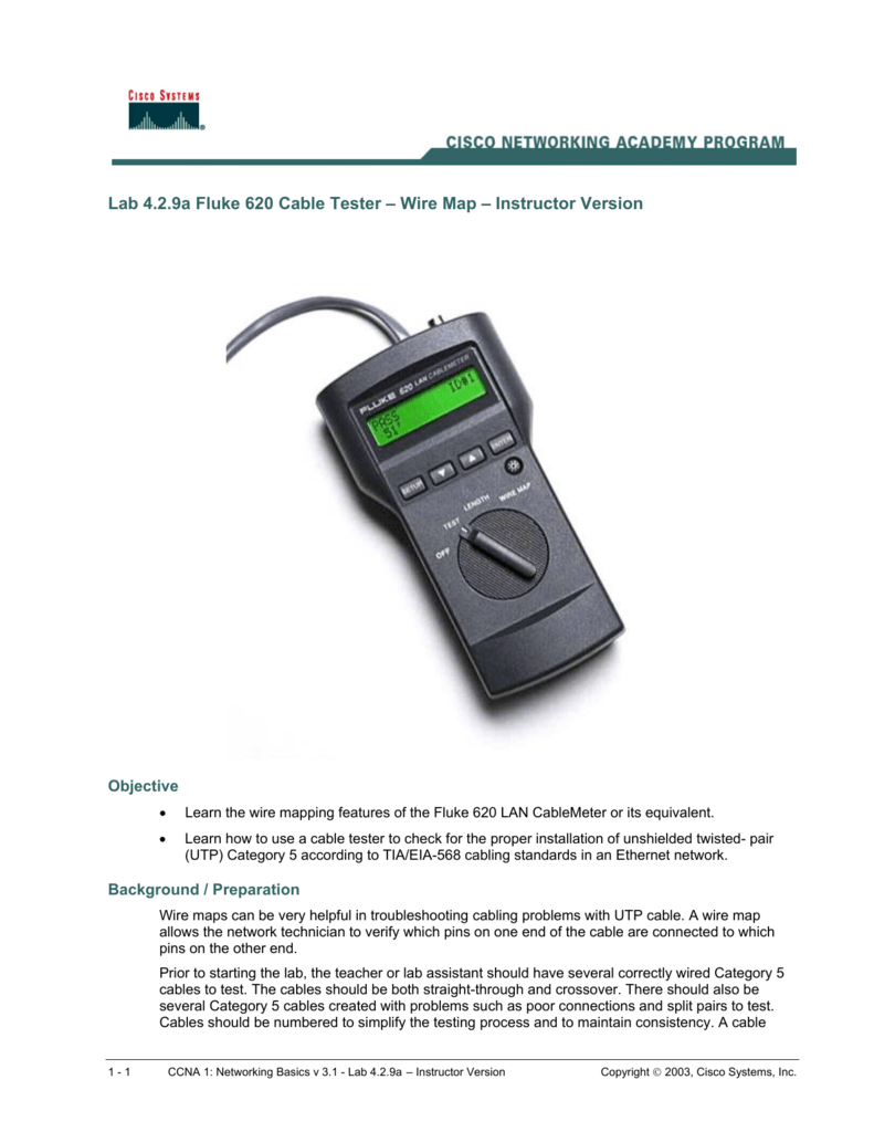 Lab 4.2.9a Fluke 620 Cable Tester – Wire Map – Instructor Version