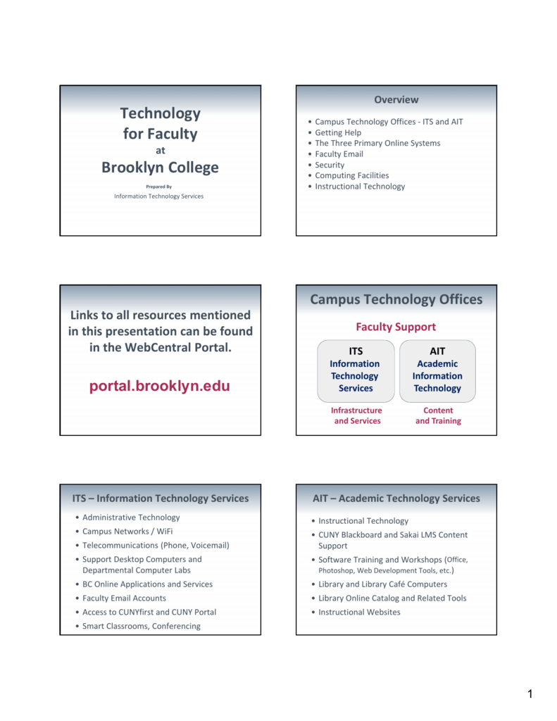 Technology for Faculty - Brooklyn College