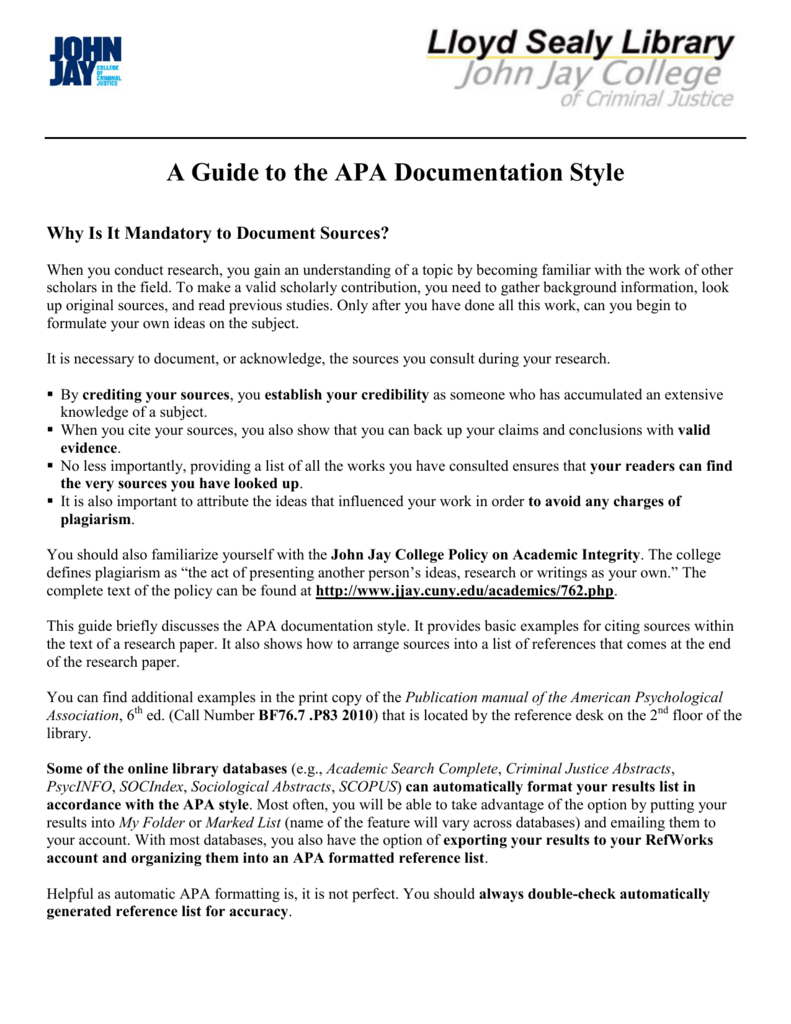 a guide to the apa documentation style