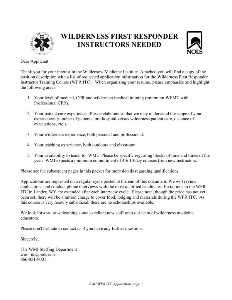 Wilderness First Responder Instructor Training Course (WFR ITC)