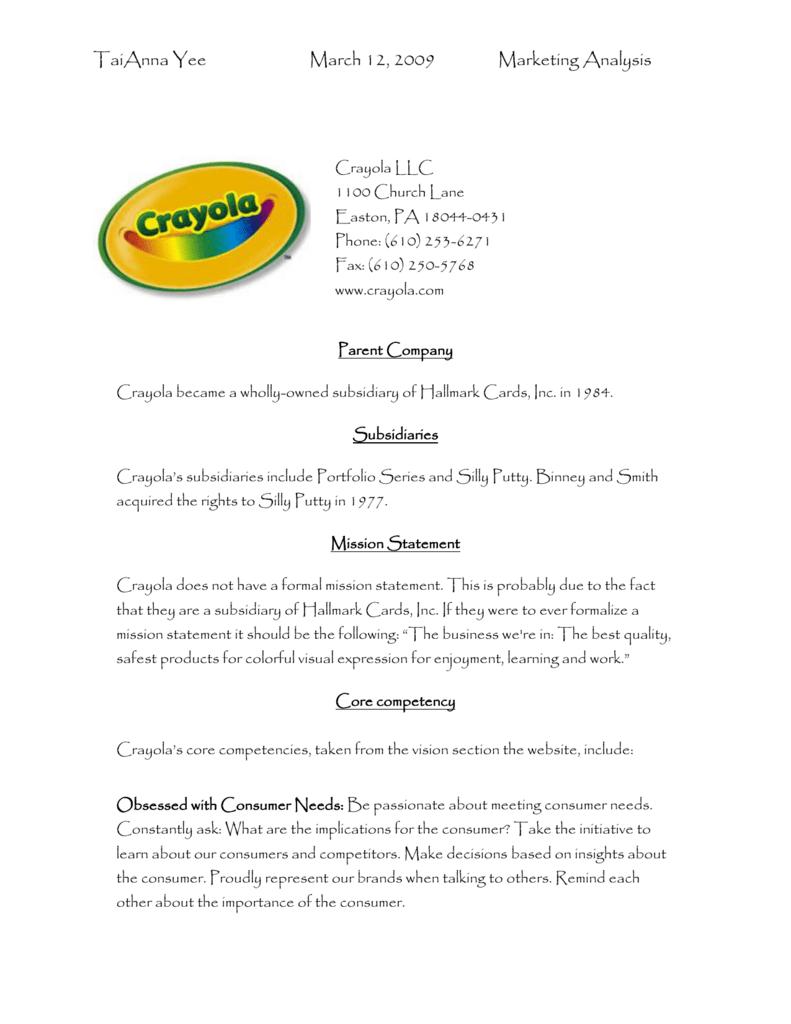 Marketing Analysis For Crayola LLC In PDF Format