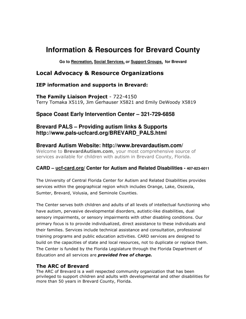 Information & Resources for Brevard County