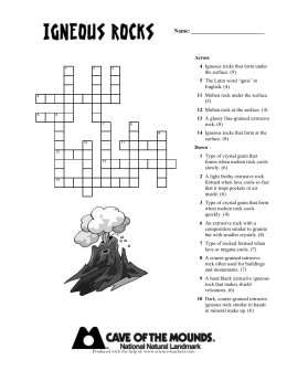 Igneous Rocks Crossword