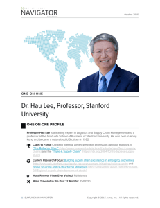 One-on-One, Dr. Hau Lee | Supply Chain Navigator