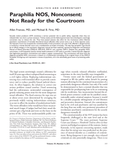 Paraphilia NOS, Nonconsent: Not Ready for the Courtroom