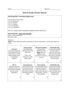 Word Study Choice Board