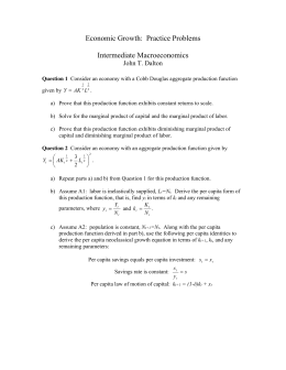 Economic Growth: Practice Problems Intermediate Macroeconomics