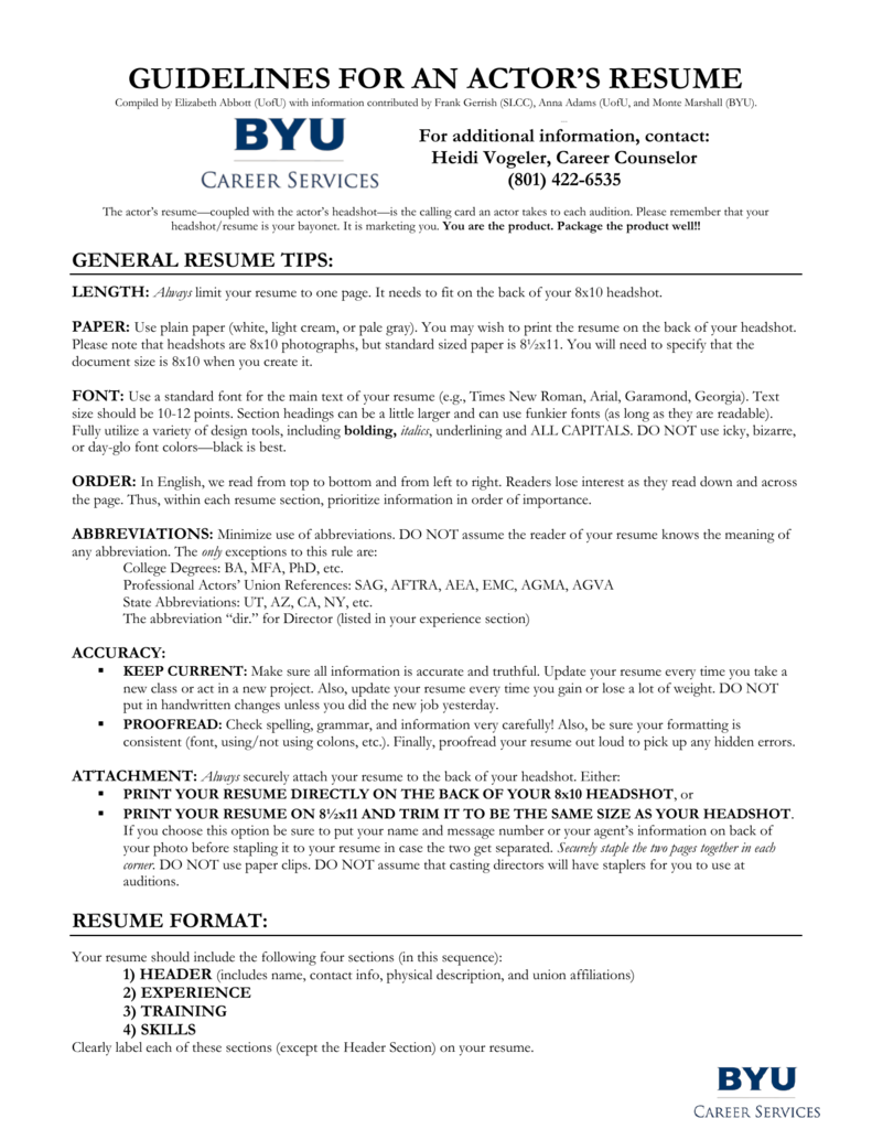 8X10 Resume Paper | Guidelines For An Actor S Resume