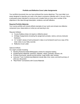 Portfolio and Reflective Cover Letter Assignments Your portfolio