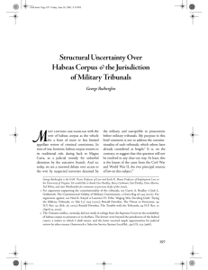 Structural Uncertainty Over Habeas Corpus the Jurisdiction of