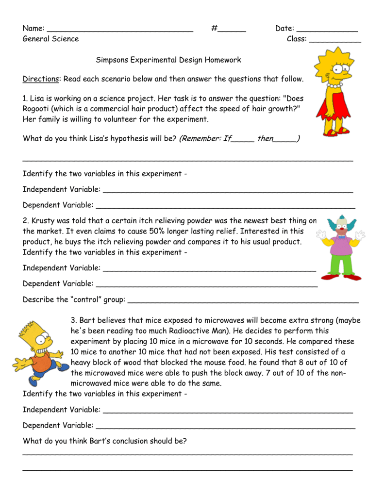 Simpsons HW Handout In Experimental Variables Worksheet Answers