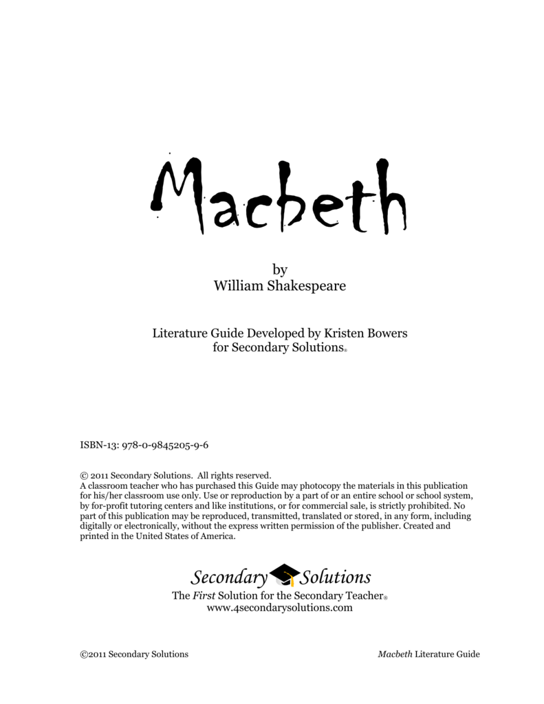 by william shakespeare rh studylib net macbeth literature guide 2011 secondary solutions answers macbeth literature guide secondary solutions answer key