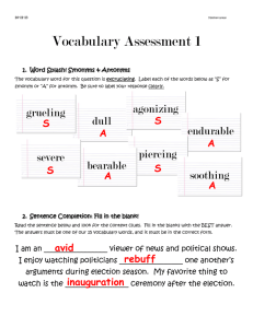 Vocabulary Assessment 1