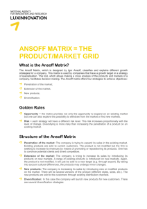 ANSOFF MATRIX = THE PRODUCT/MARKET GRID