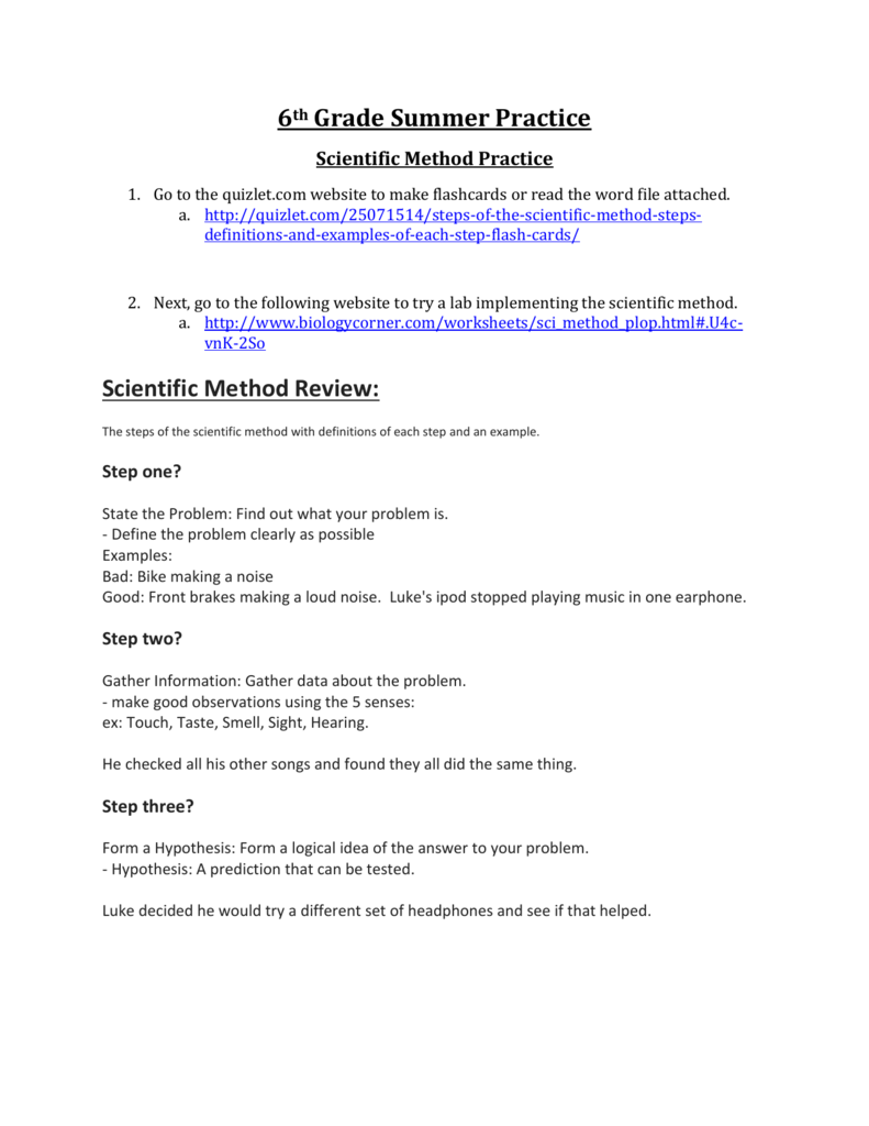 6th Grade Summer Practice Scientific Method Review