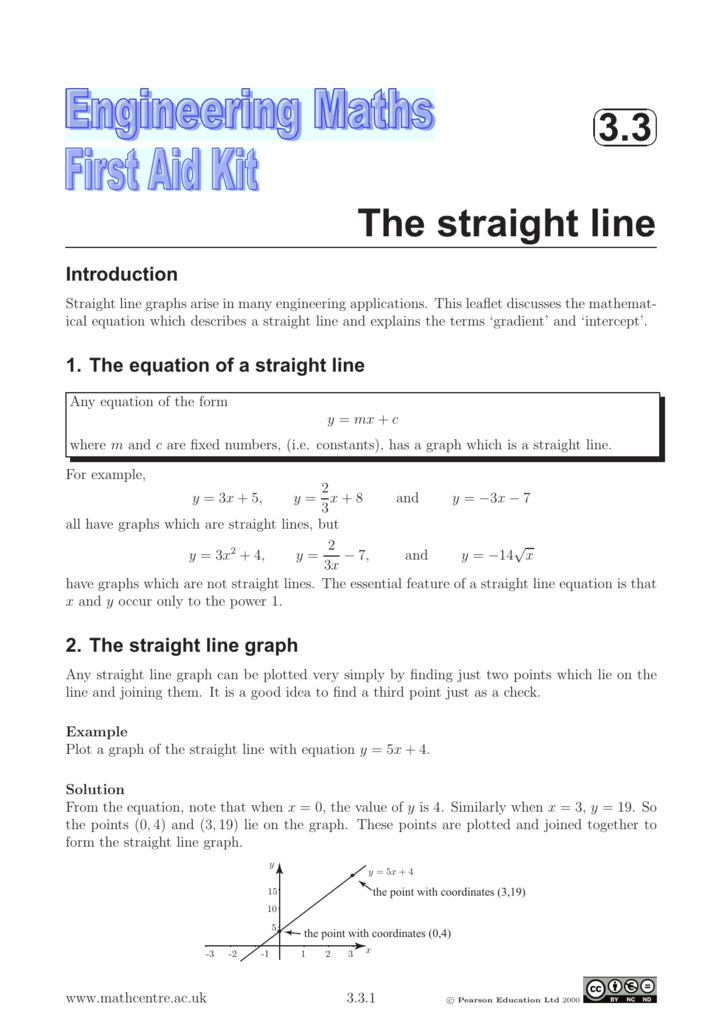 3 3 The straight line