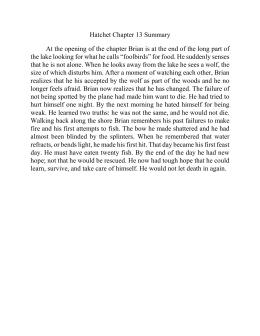 hatchet essay example Hatchet essay topics grading rubrics (by gary paulsen) students are given 3 response to literature topics about hatchet: theme - the m.