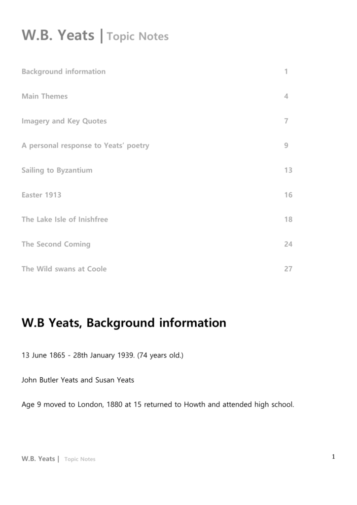 WB Yeats |Topic Notes