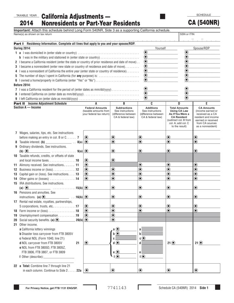 2015 form ca ftb 540nr instructions fill online, printable.