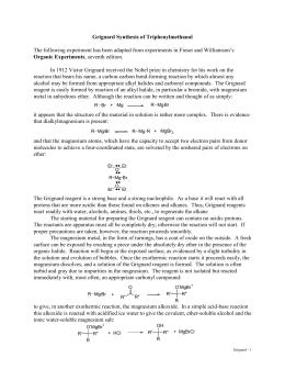 Using the Grignard Reaction to Prepare Triphenylmethanol