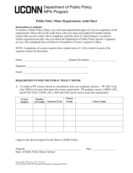 Minor Audit Sheet - Public Administration