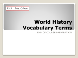 World History Vocabulary Terms