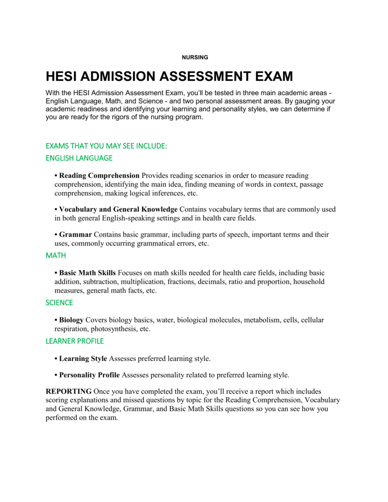 HESI ADMISSION ASSESSMENT EXAM