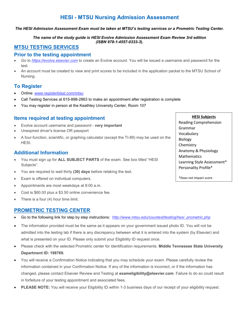 HESI - MTSU Nursing Admission Assessment