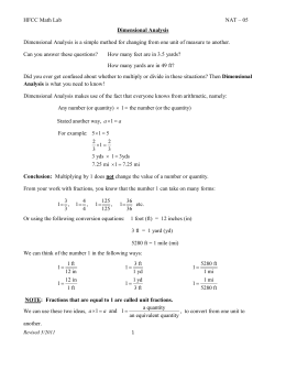 Dimensional Analysis And Conversion Of Units