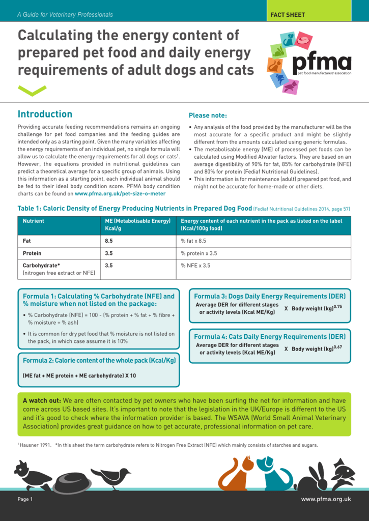 calorie fact sheet pet food manufacturing association