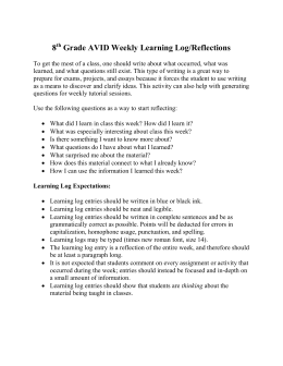 7th Grade AVID Weekly Learning Log/Reflections