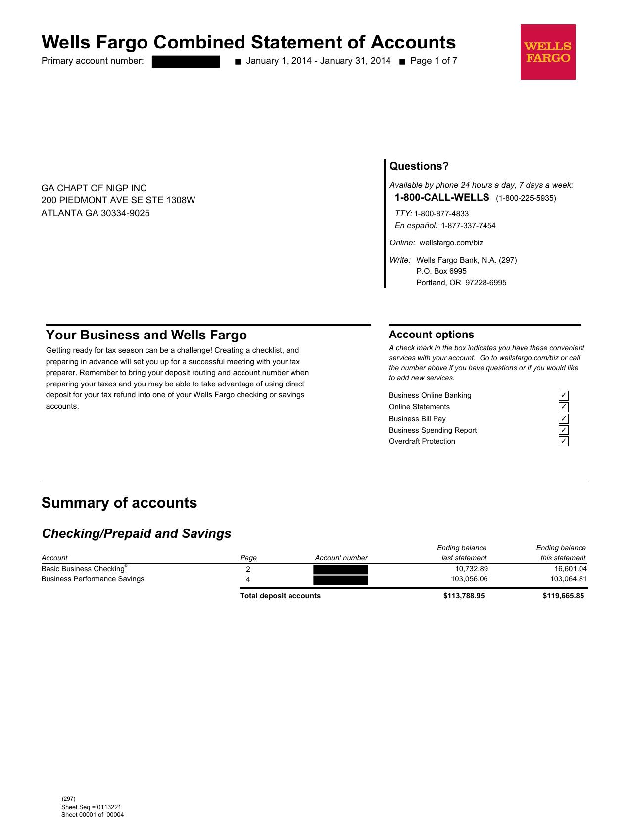 Wells Fargo Combined Statement of Accounts