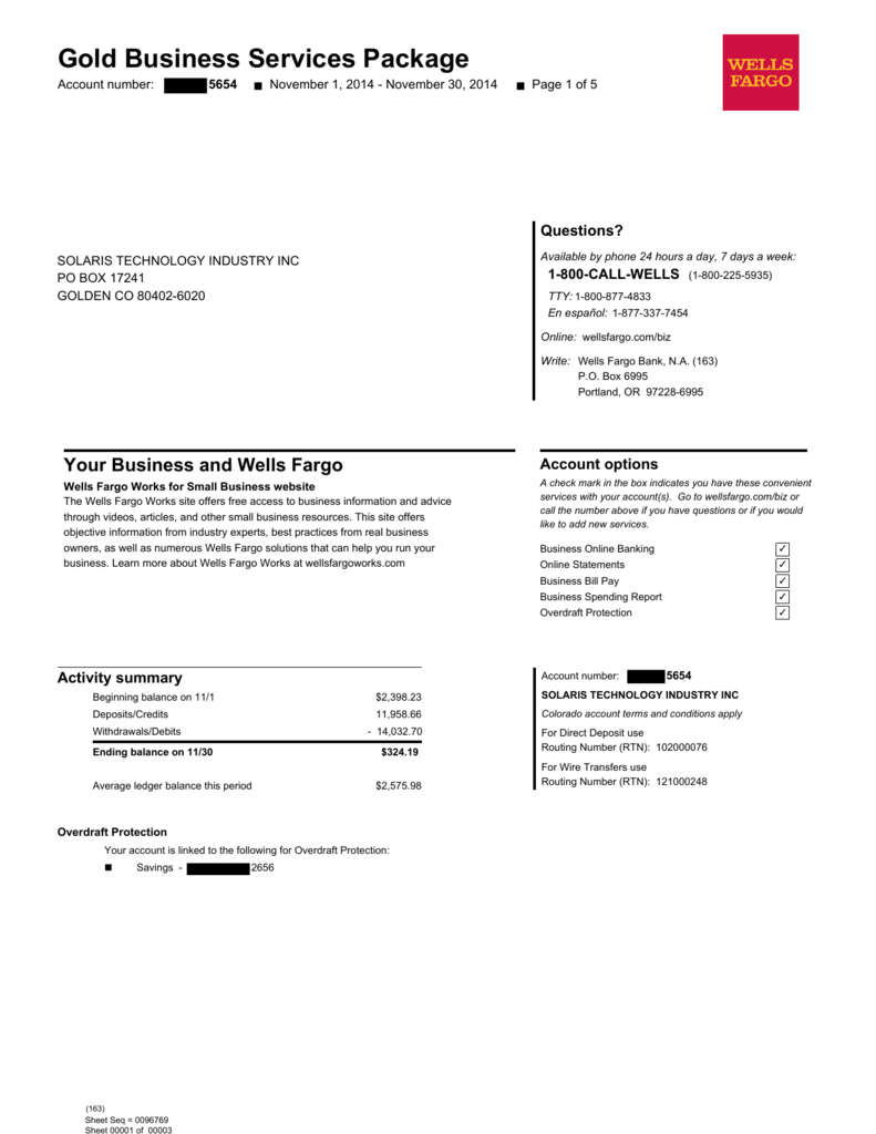 Bank Statement 11/14 PDF