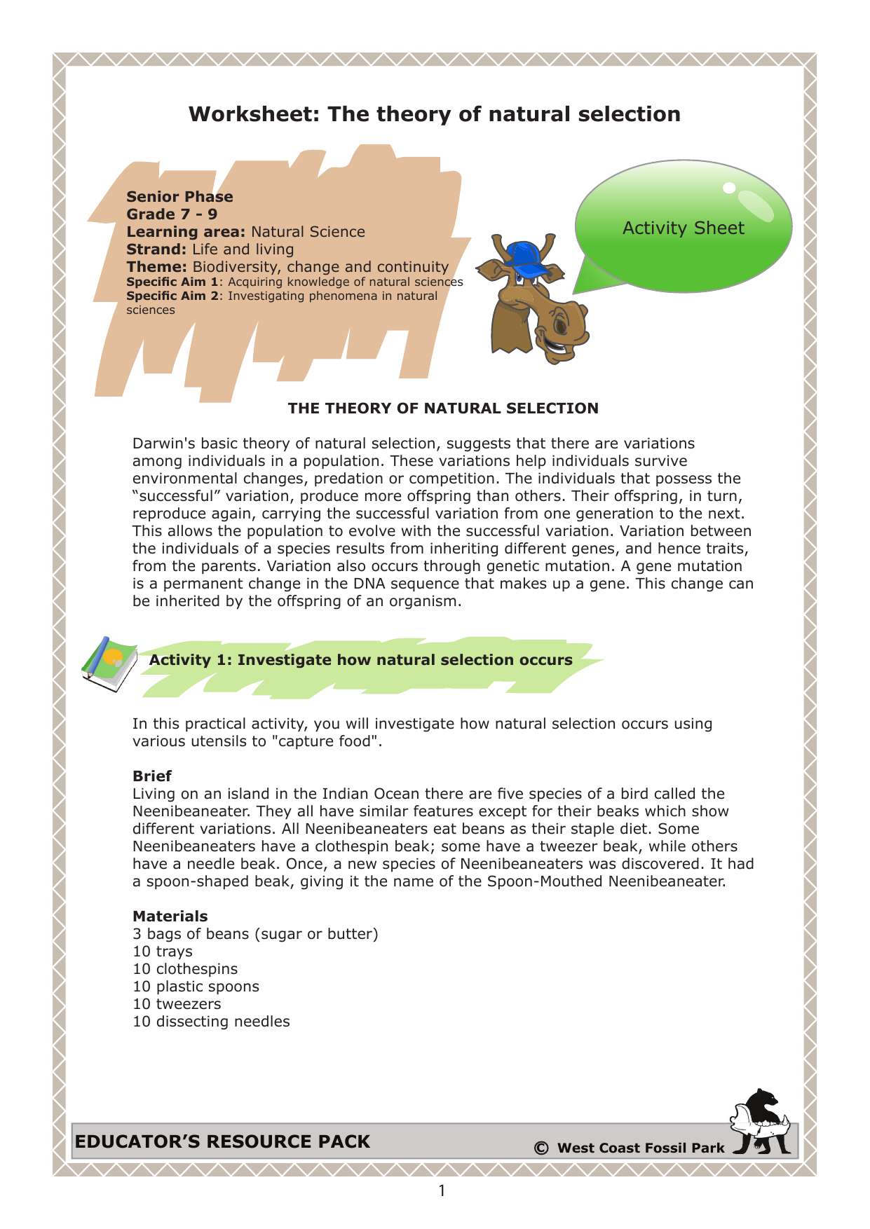 Worksheet The theory of natural selection – Natural Selection Worksheet