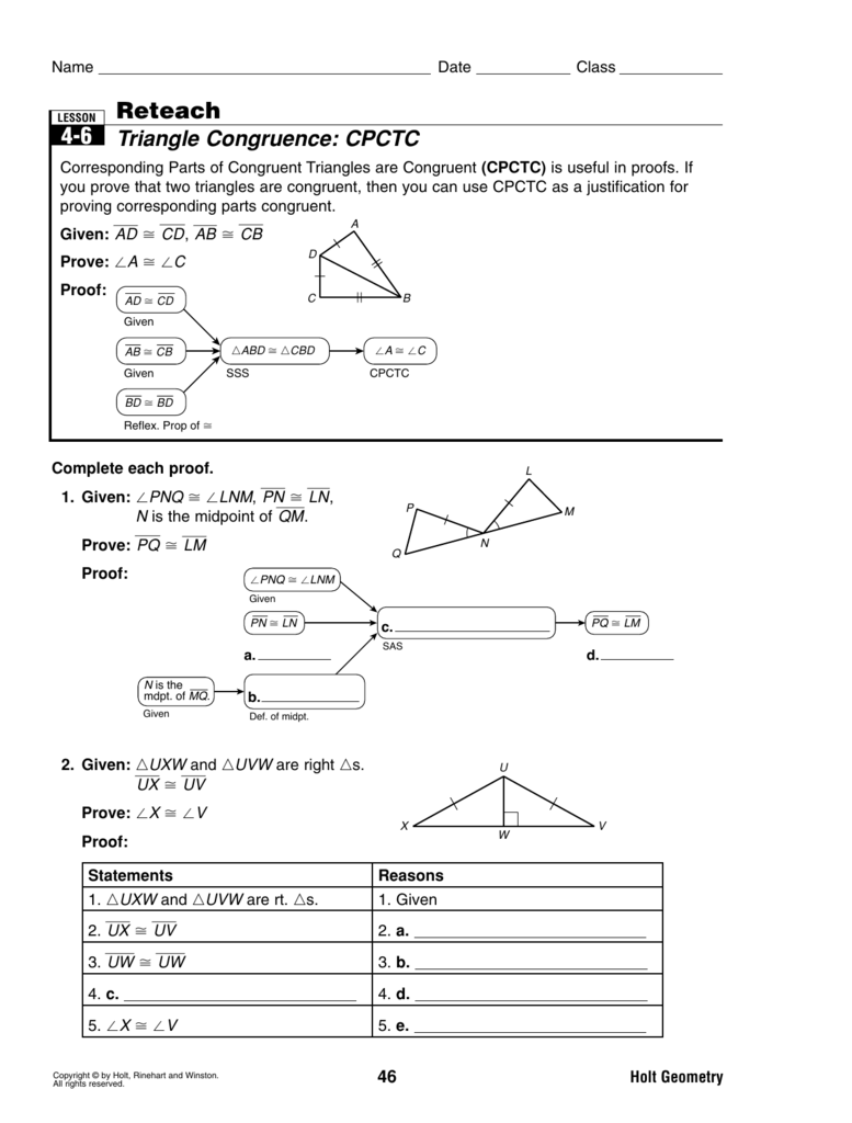 Worksheets Cpctc Worksheet reteach triangle congruence