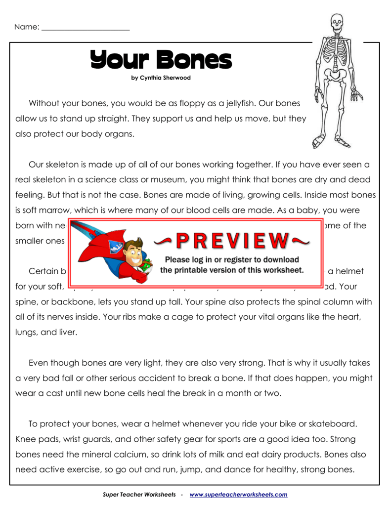 Your Bones - Super Teacher Worksheets