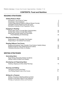 CONTENTS: Food and Nutrition