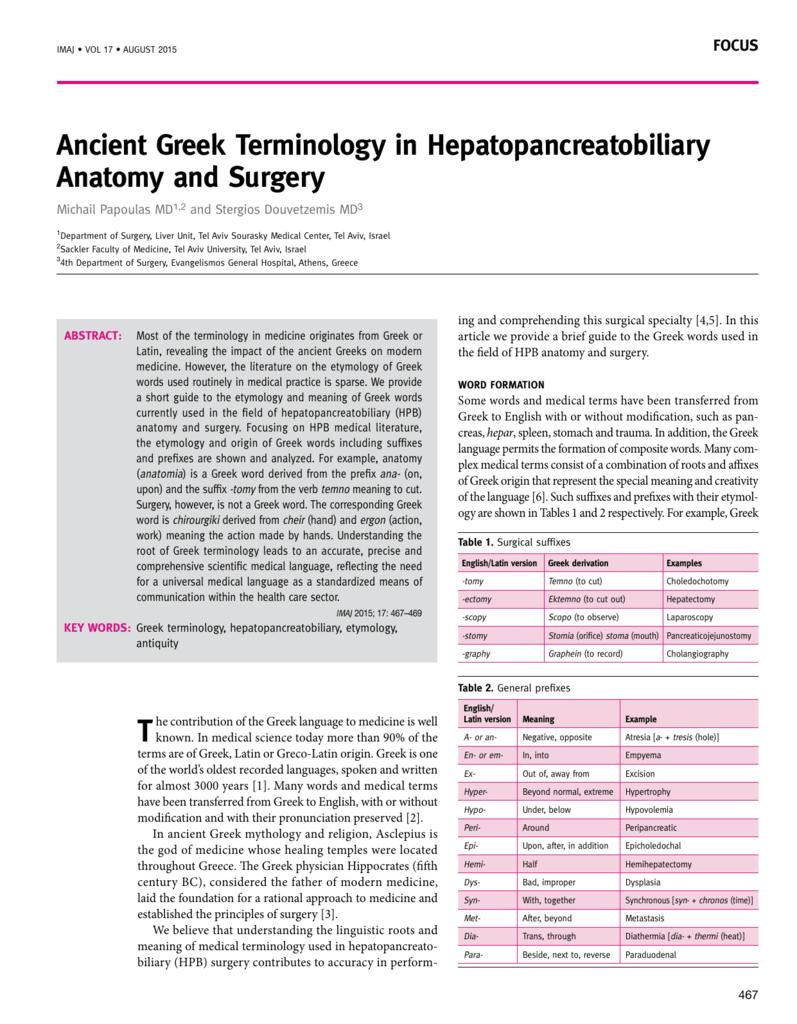 Ancient Greek Terminology In Hepatopancreatobiliary Anatomy And