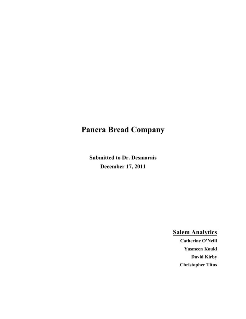 case 13 panera bread company in 2016