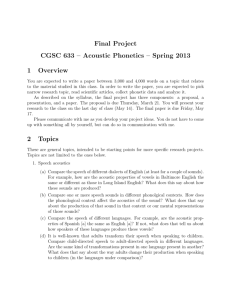 Final Project CGSC 633 – Acoustic Phonetics – Spring 2013 1
