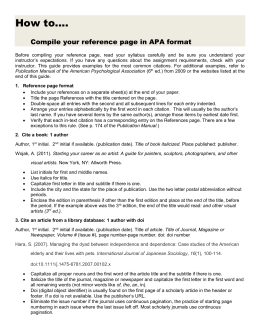 Quick guide to creating an APA references page