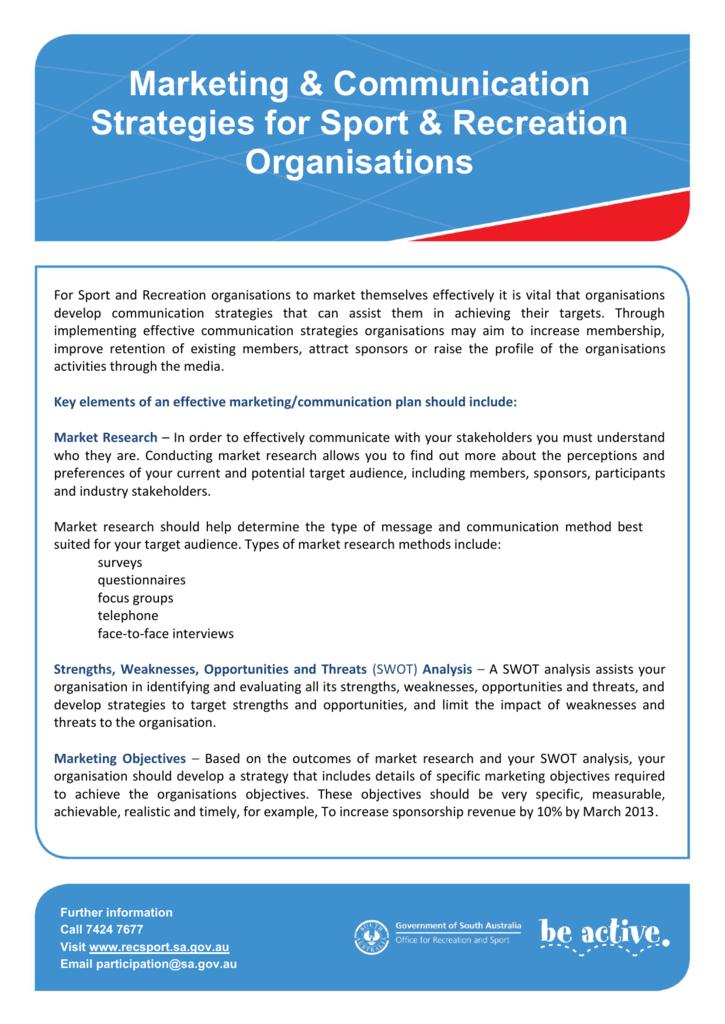 Marketing & Communication Strategies for Sport & Recreation