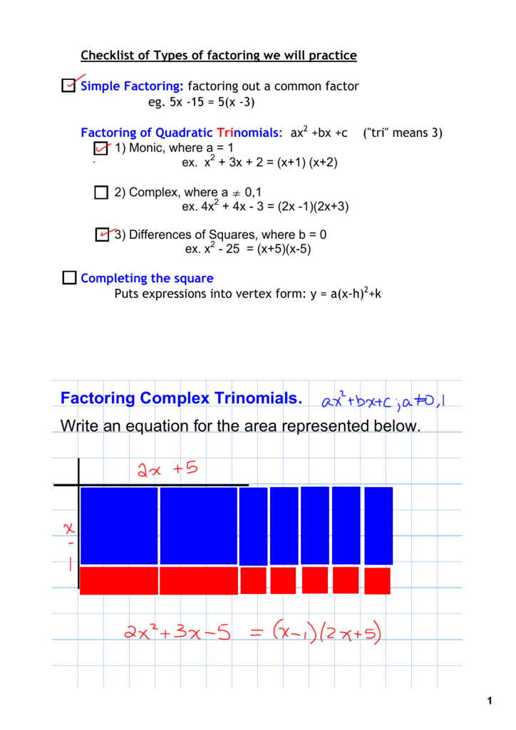 Factoring Complex Trinomials. Write an equation for