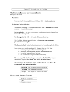 The Northern Economy and Industrialization Factors of the Northern