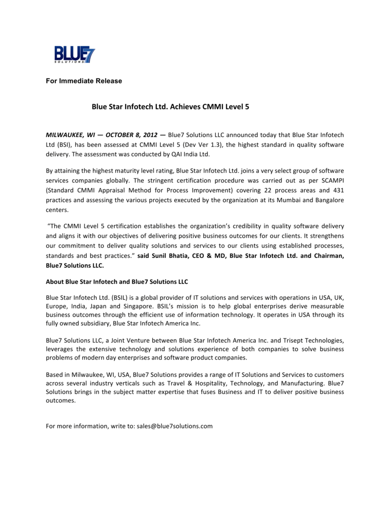 Blue Star Infotech Ltd Achieves Cmmi Level 5